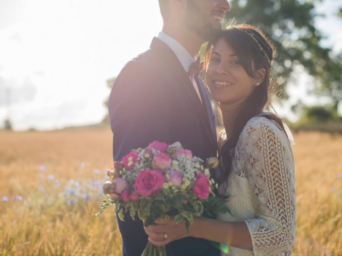 Mariage champêtre – soleil couchant